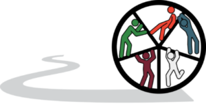 Autism Career Pathways logo: A wheel on a pathway with five people pushing together to move forward